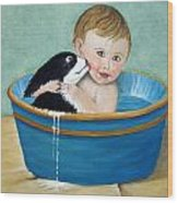Playing In The Tub Wood Print