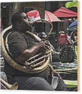 Playing The Tuba _ New Orleans Wood Print