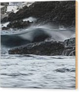 playing with waves 2 - A beautiful image of a wave rolling in noth coast of Menorca Cala Mesquida Wood Print