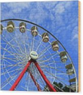 Playland Ferris Wheel Wood Print by Maria Scarfone
