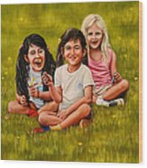 Playtime In The Field Wood Print