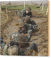 Plebes Low Crawl Under Barbwire As Part Wood Print