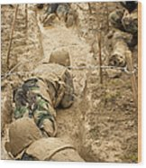 Plebes Navigate The Low Crawl Obstacle Wood Print