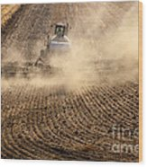 Plowing The Ground Wood Print by Mike  Dawson