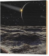 Pluto Seen From The Surface Wood Print