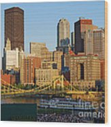 Pnc Park And River Boat Wood Print