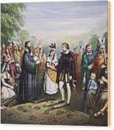Pocahontas & John Rolfe Wood Print