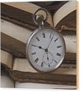 Pocket Watch On Pile Of Books Wood Print