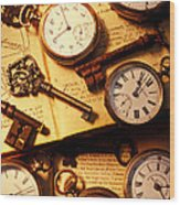 Pocket Watches And Old Keys Wood Print