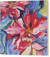 Poinsettia Color Wood Print