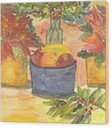 Poinsettias Holly And Table Fruit Wood Print