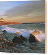 Point Judith Lighthouse Seascape Wood Print