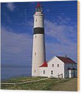 Point Lamour Lighthouse Overlooking Wood Print