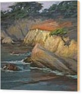 Point Lobos Last Light Wood Print