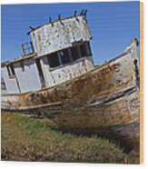 Point Reyes Beached Boat Wood Print