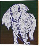 Pointillism Elephant Wood Print