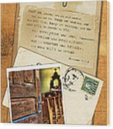 Polaroid Of Open Door To Church With A Bible Verse Wood Print