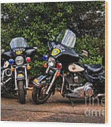 Police Motorcycles Wood Print by Paul Ward