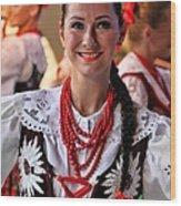 Polish Folk Dancing Girl Wood Print