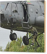 Polish Special Forces Member Fast-ropes Wood Print