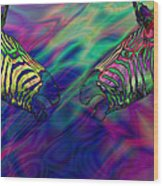 Polychromatic Zebras Wood Print by Anthony Caruso
