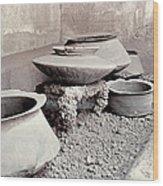 Pompeii: Cooking Pots Wood Print