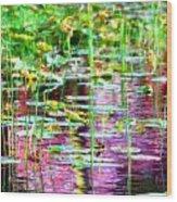 Pond In Purple Wood Print
