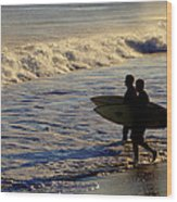 Ponquogue Surfers Wood Print
