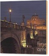 Ponte And Castel Sant' Angelo At Night Wood Print