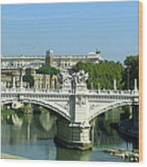 Ponte Sant'angelo In Rome Wood Print