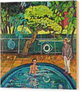 Pool At Upsal Gardens Wood Print