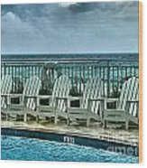 Poolside With A View Wood Print