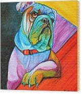 Pop Art Bulldog Wood Print