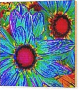 Pop Art Daisies 2 Wood Print