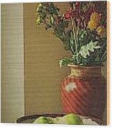 Poppies and apples still life Wood Print