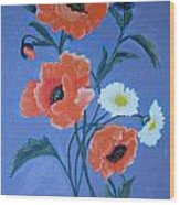 Poppies And Daisies Wood Print