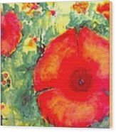 Poppies Face To The Sun Wood Print