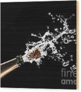 Popping Champagne Cork Wood Print