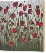 Poppy Field Wood Print by Holly Donohoe