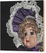Porcelain Doll - Head And Bonnet Wood Print