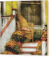 Porch - Westifeld Nj - In The Light Of Autumn Wood Print by Mike Savad