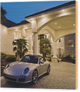 Porsche Parked At Mansion Wood Print by Roberto Westbrook