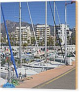 Port In Marbella Wood Print