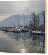 Port With Snow-capped Mountain Wood Print