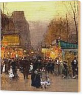 Porte St Martin At Christmas Time In Paris Wood Print