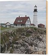 Portland Head Light Cape Elizabeth Fort Williams Maine Wood Print