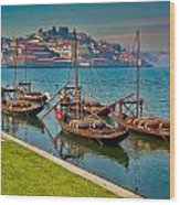Porto Barges Wood Print