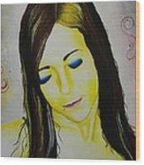 Portrait In Yellow Wood Print
