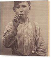 Portrait Of A Boy Smoking, Original Wood Print