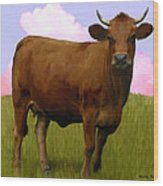 Portrait Of A Cow Wood Print